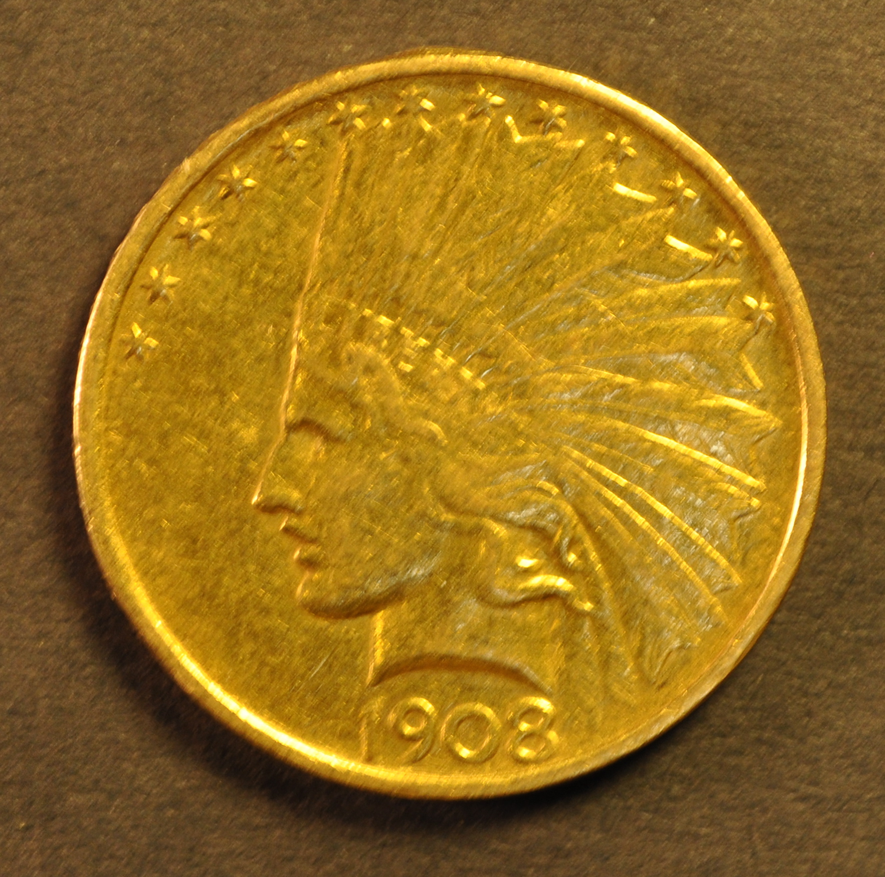 USA 1908 Indian head $10